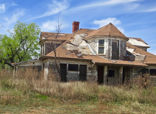 Abandoned homes reflect the dropping population of many West Texas towns. This was once somebody's dream.