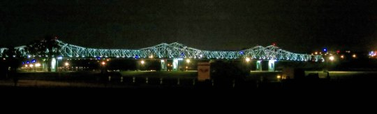 The Natchez-Vidalia Bridge across the Mississippi River at night.