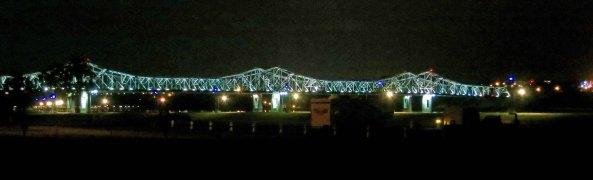 The Natchez-Vidalia Bridge across the Mississippi River at night.