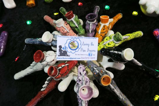 """""""Living the Pipe Dreams"""" cannabis pipes on display at the Cannabis Fair in Jackson County, Oregon."""