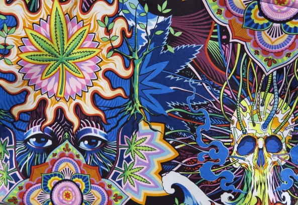 Cloth hanging art found at the Cannabis Fair in Jacksonville County, Oregon.