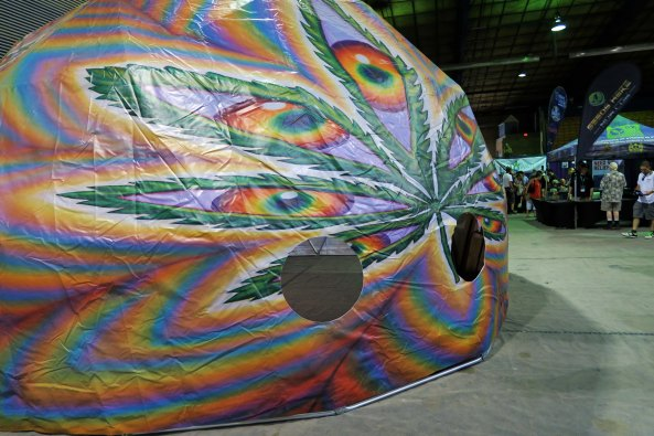Dome tent for growing cannabis at the Cannabis Fair in Jackson County, Oregon.