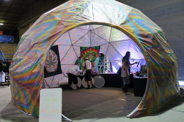 A dome tent from the Pacific Dome company on display at Cannabis Fair in Jackson County, Oregon.