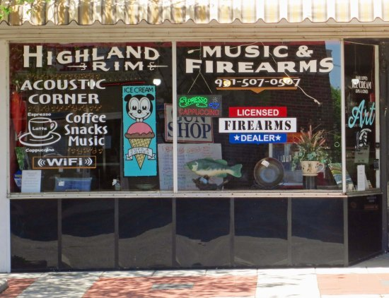 Peggy and I found this shop in McMinnville and I had to post it: A music store that sells ice cream and guns!