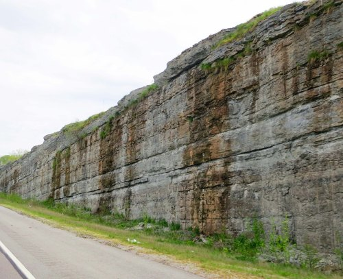 Limestone walls, such as this on US 64, are common on Tennessee Highways.