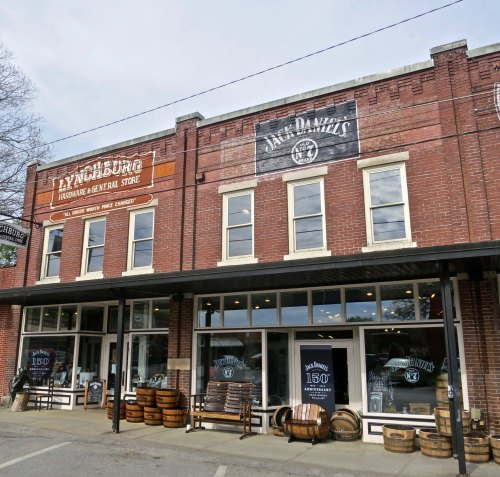 "A view of the ""Company Store"" in Lynchburg, Tennessee where you can even pick up used whisky barrels for planters."