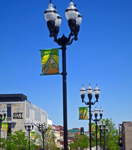 Street lamps decorate the main street of McMinnville, Tennessee.