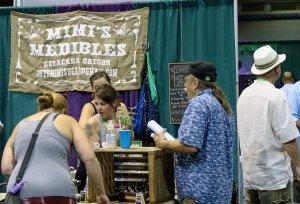 Mimim's medical marijuana being displayed at the Cannais Fair in Jackson County, Oregon.