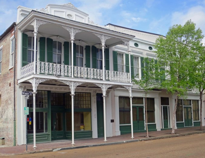 Historic building with balcony in Natchez, Mississippi.