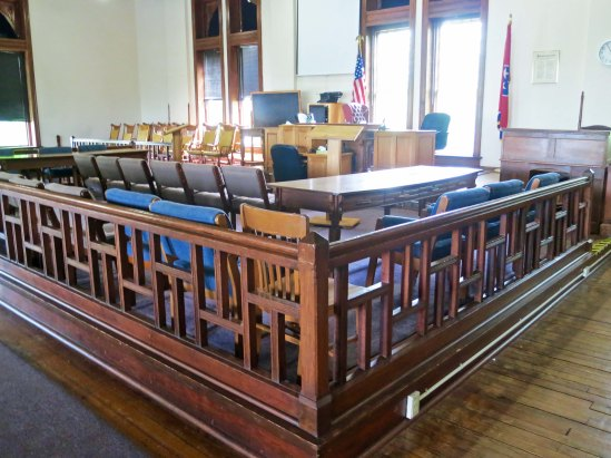 An exact recreation of the courtroom in Dayton, Tennessee where the scopes trial was held.