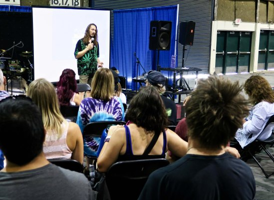 Pioneer Pete was one of a number of people who made presentations at the Cannabis Fair on the various aspects of marijuana farming.