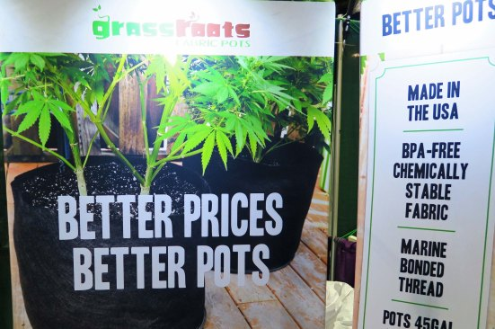 Pots for growing marijuana on display at the Cannabis Fair in Jackson County, Oregon.