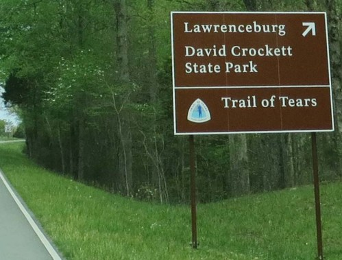 As I approached US 64, a sign informed me I would be heading toward David Crockett State Park and following the Trail of Tears.