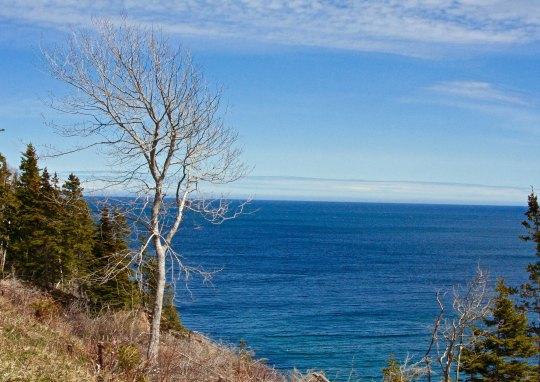 Blue skies color the Atlantic Ocean blue.
