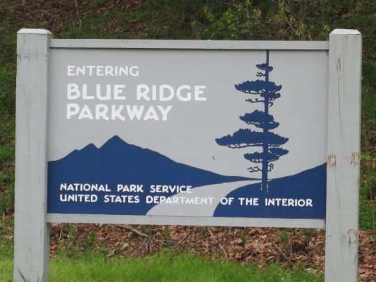 When biking the Blue Ridge Parkway, you can start in the north, in the south, or at several points along the way. Wherever, you will be greeted by this sign.
