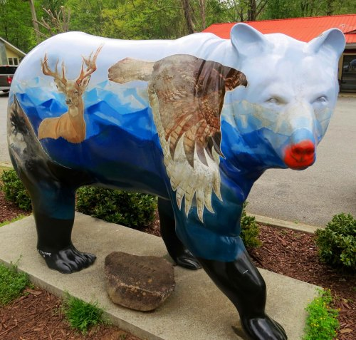 Bear sculpture located in Cherokee, North Carolina.