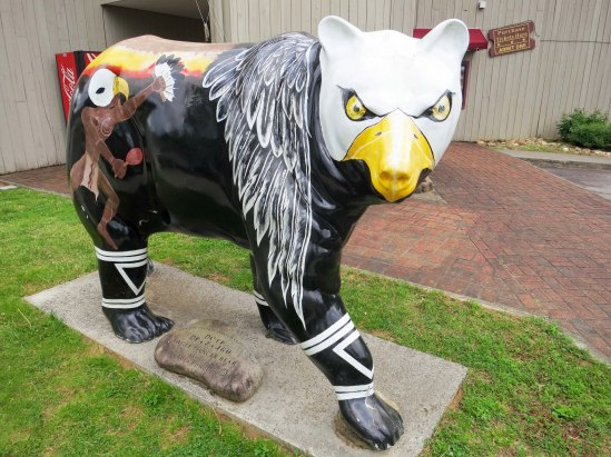 Bear sculpture painted to resemble eagle in Cherokee, North Carolina.