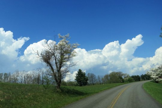 Dramatic clouds along the Parkway added to the scenery.