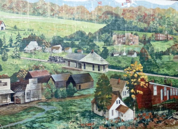 Mural depicting the historic town of Englewood in eastern Tennessee.