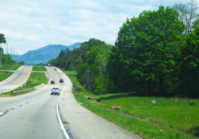 The Great Smoky Mountains can be seen in the distance as you leave Maryville, Tennessee on Highway 312.