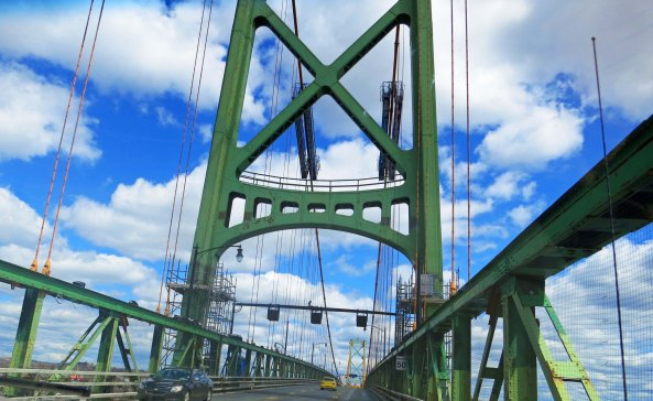 Crossing the Angus L. MacDonald Bridge in Halifax, Nova Scotia.