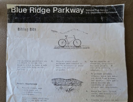 The mimeographed sheet on bicycling the Blue Ridge Highway that the National Park Service handed out to me in 1989