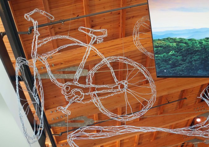 Bike sculpture in Blue Ridge Park Headquarters, Asheville, North Carolina.