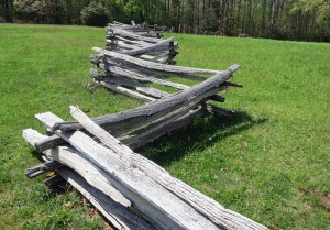 Pioneer fence on display at Groundhog Mountain on the Blue Ridge Parkway in Virginia.