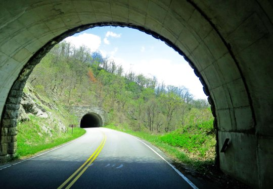 And highway tunnels. There are 26 along the Blue Ridge Parkway ranging in length from 150 feet to 1434 feet.