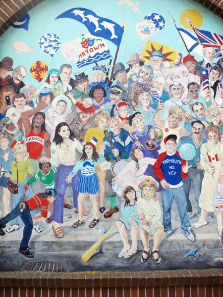This mural featured a number of inhabitants in the town.