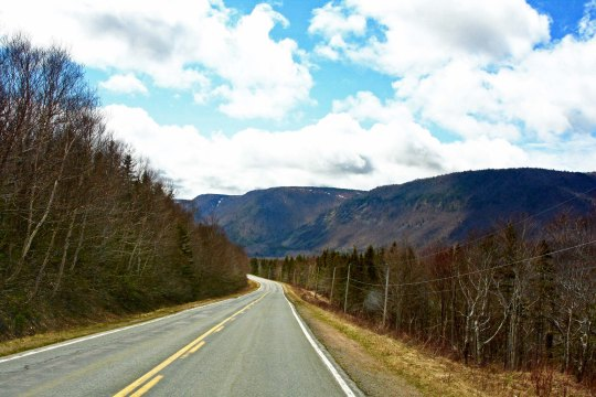 One of the steepest climbs along the Cabot Trail in Nova Scotia was climbing up this hill into the Highlands.