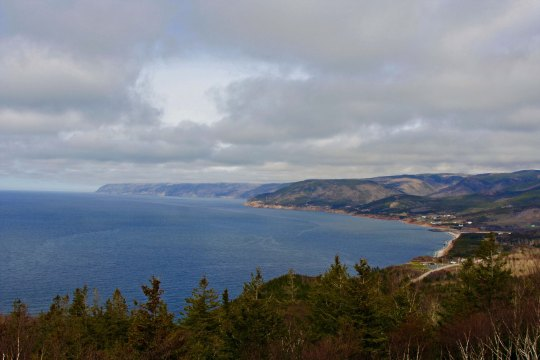 Climbing again, we came on this view of the west coast of Cape Breton looking out toward the Gulf of St. Lawrence.