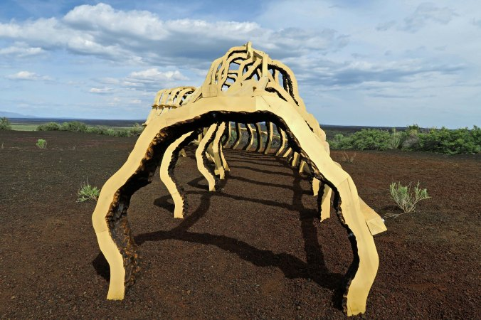 And unique art ranging from murals to this desert sculpture.
