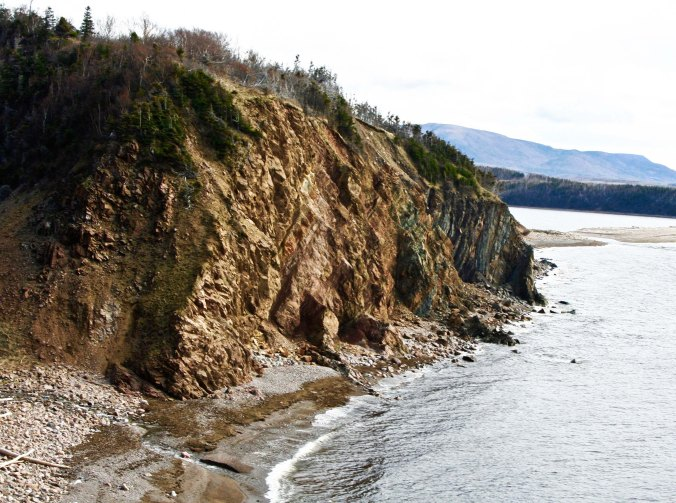 This impressive cliff was near the road work.