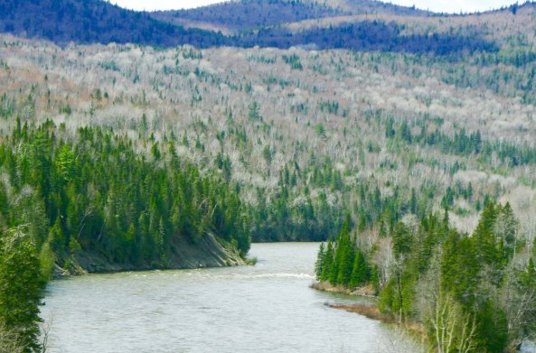 Like so many other rivers I followed on my bike trek, the Matapedia River on the Gaspe Peninsula provided a convenient route for road builders over terrain that might have been close to impassable.