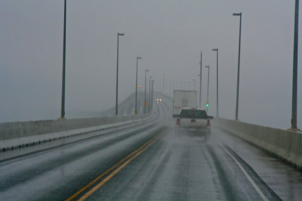 A stormy day limited our visibility when we crossed the 8-mile Confederation Bridge to PEI from New Brunswick.
