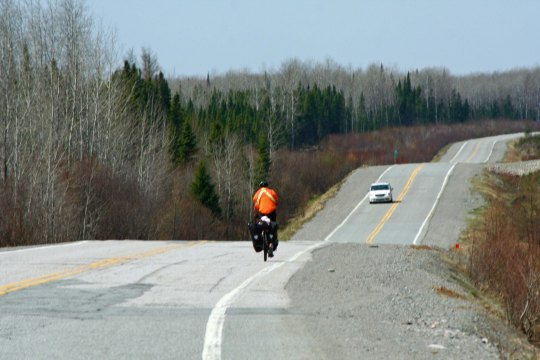 A lone bike tourist made his way south on Route 113. He was the only one we saw on the route. Apparently biking into Northern Quebec has yet to take off and become popular!