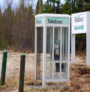 An SOS phone booth along Route 167 in Northern Quebec.