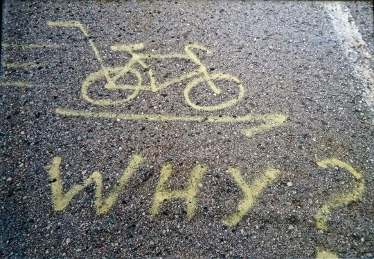I found this spray painted bicycle at the top of Cape Breton's toughest climb and laughed. (photo by Jean Snuggs.)