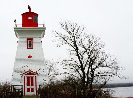 "Grey skies detracted from the ""picture postcard"" look this lighthouse in Victoria, Prince Edward Island is supposed to have, but provided a powerful backdrop for the tree that seems to lean toward it."