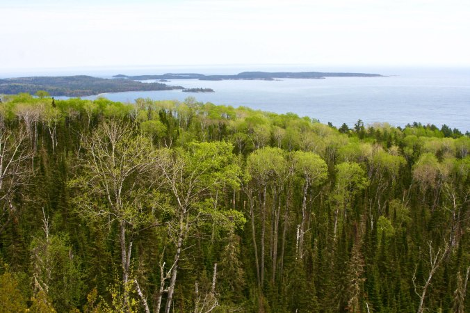 Overlook on Minnesota Highway 61 that provides a view of Islands in Lake Superior.