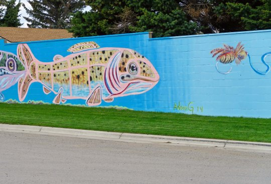 Tempting! A trout contemplates a lure in a Lewiston, Montana mural.