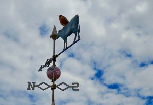 Cow weathervane found at museum in Culbertson, Montana.