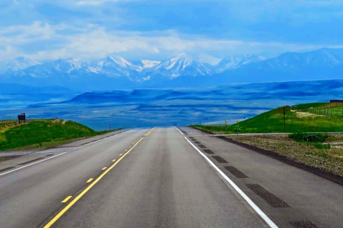 The Rocky Mountains viewed from Highway 191 in Montana.