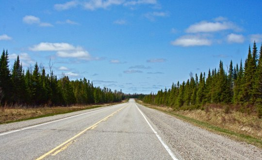 Trans-Canada Highway 11 works its way across Ontario— in this particular instance forested, flat and straight.