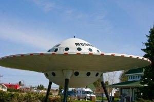 Flying saucer sculpture in Moonbeam, Ontario Canada.