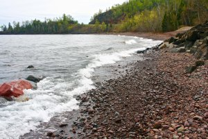 A beach on the North Shore of Lake Superior.