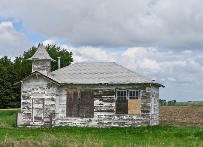 A one room school house along Highway 2.