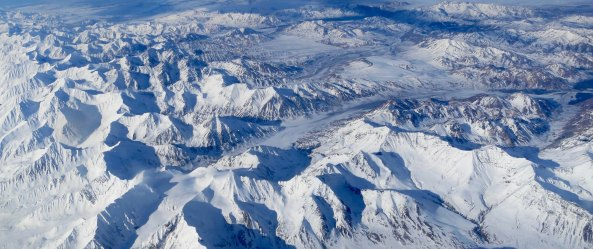 Flying back to Anchorage, I looked out the window and caught this photo of the Alaska Range.