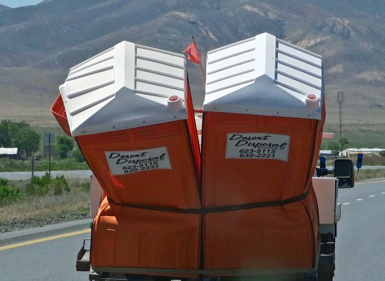 You can see almost anything traveling along I-80. Peggy and I were amused with this pick up load of squished porta-potties. I had my doubts about how they were fastened down.